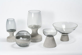 Glass with Sand Work Base set of 5